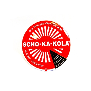 Scho-Ka-Kola Caffeinated Chocolate - 100g Tin - Dark Chocolate